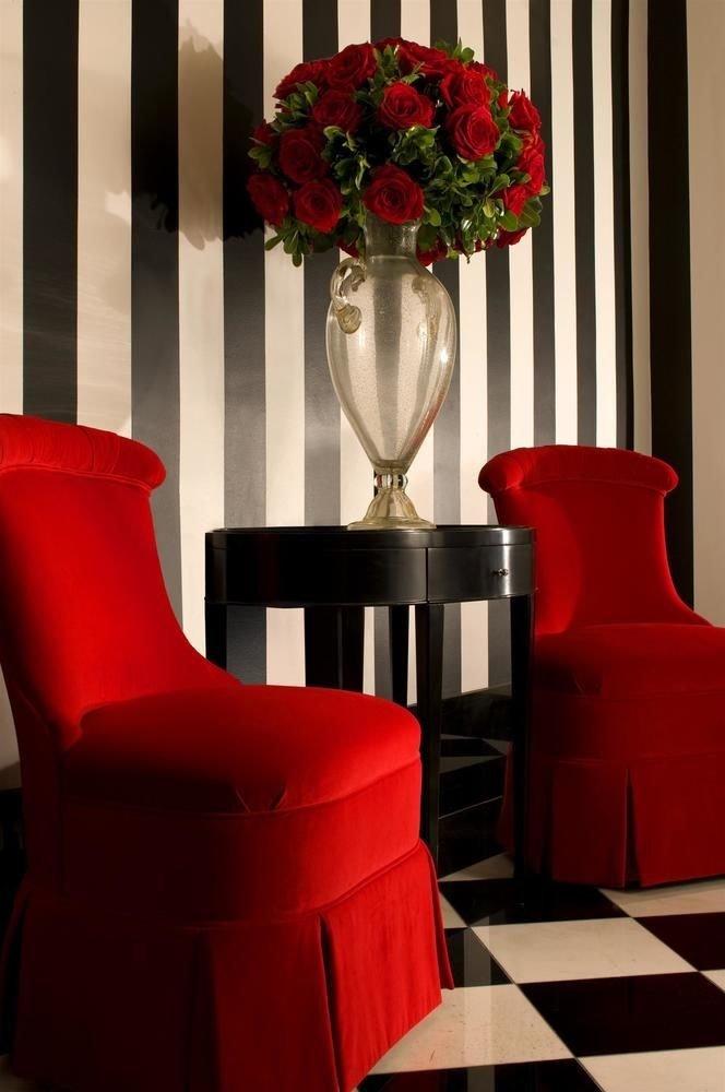 red restaurant living room chair flower flooring colored
