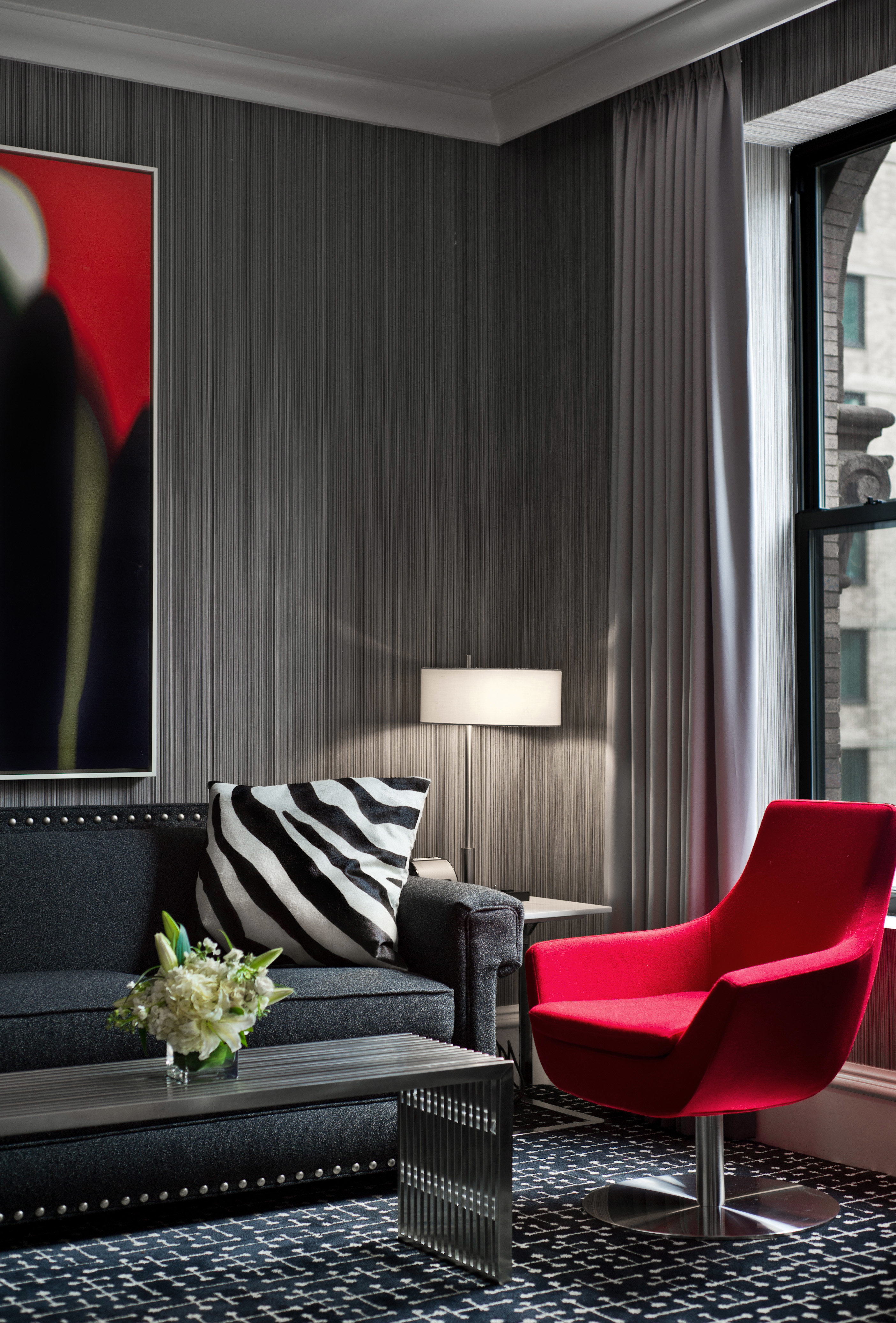 red chair living room curtain home window treatment