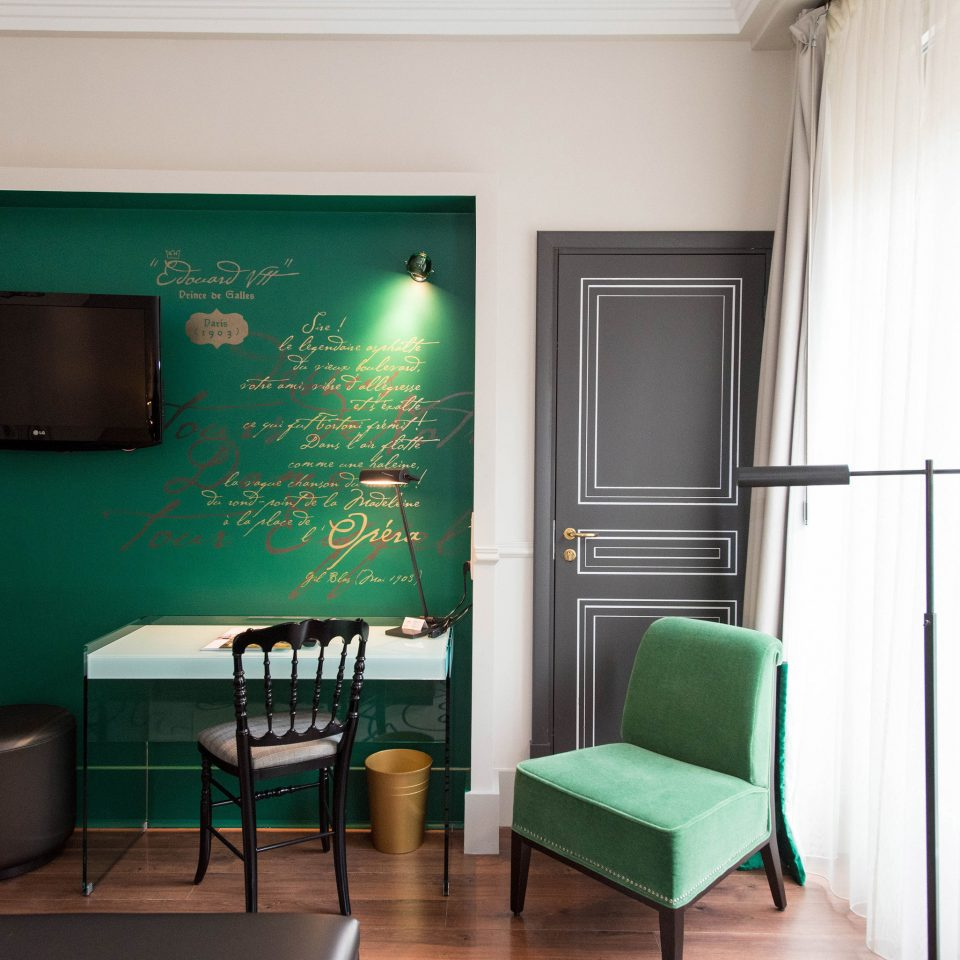 green property chair living room home waiting room office leather