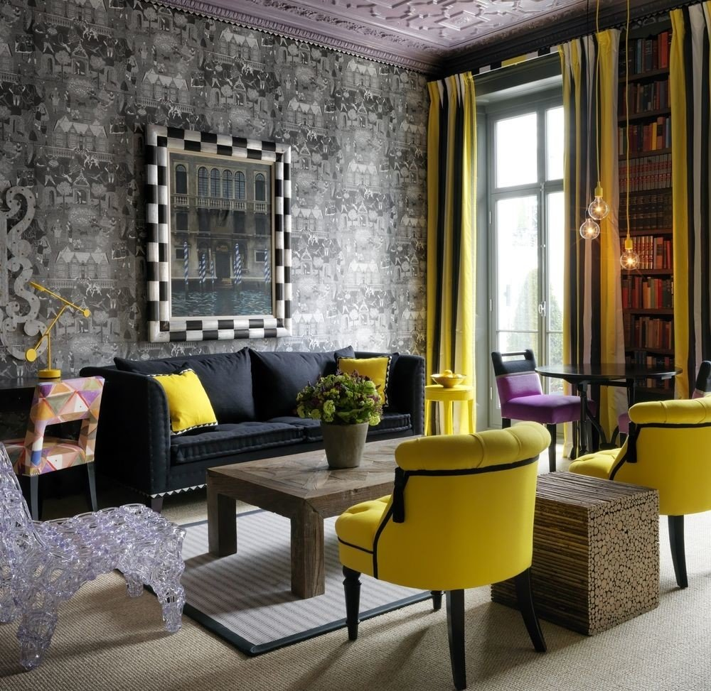 yellow living room property chair home