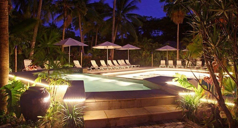 tree Resort landscape lighting swimming pool backyard Villa lighting hacienda mansion home Courtyard eco hotel plant palm Christmas
