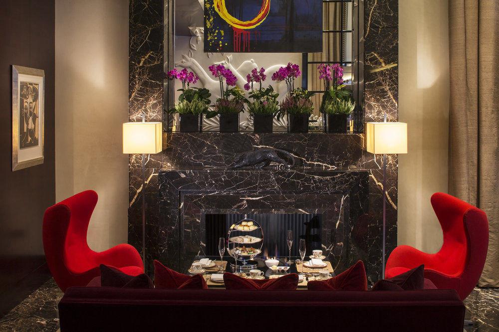 red living room lighting Christmas Fireplace set