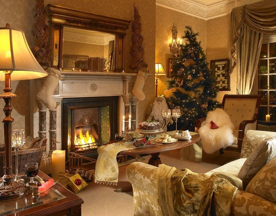 Fireplace living room home mansion Lobby Christmas christmas decoration