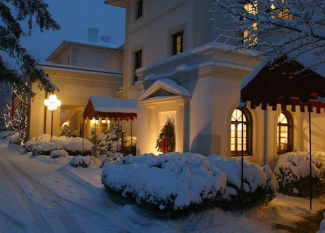 snow Winter weather house home Resort christmas decoration Christmas landscape lighting mansion day