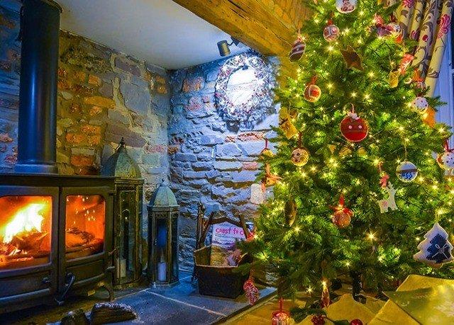 Fireplace Nature christmas decoration Christmas tree stone