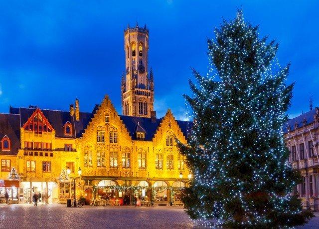 sky building landmark tree street Christmas tree christmas decoration evening Resort light castle