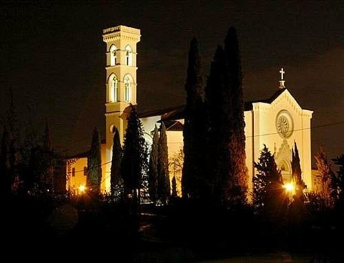 building night place of worship light darkness evening Church tower tall