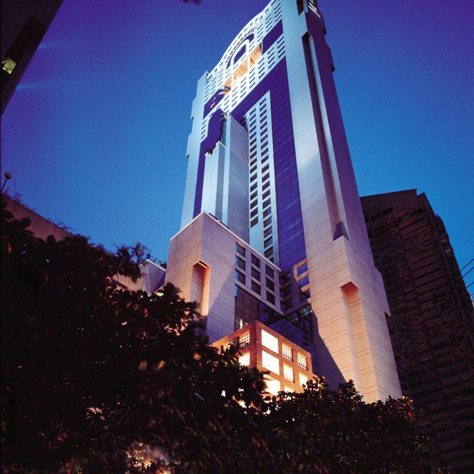 sky blue landmark night building light darkness evening tall lit skyscraper tower City dark