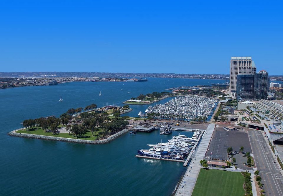 sky water marina Coast aerial photography Sea horizon dock bird's eye view Harbor City port cityscape residential area skyline Island shore