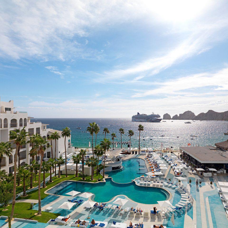 sky water Resort swimming pool Sea resort town scene condominium City leisure horizon Harbor Coast day lined