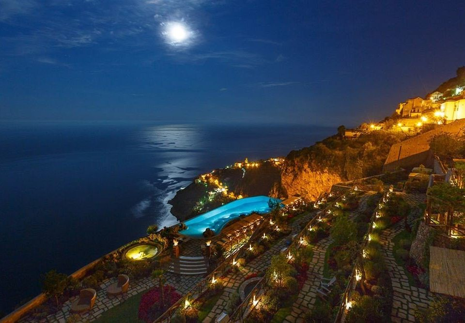 sky Sea Coast night lighting tourist attraction City terrain evening horizon Resort promontory resort town leisure