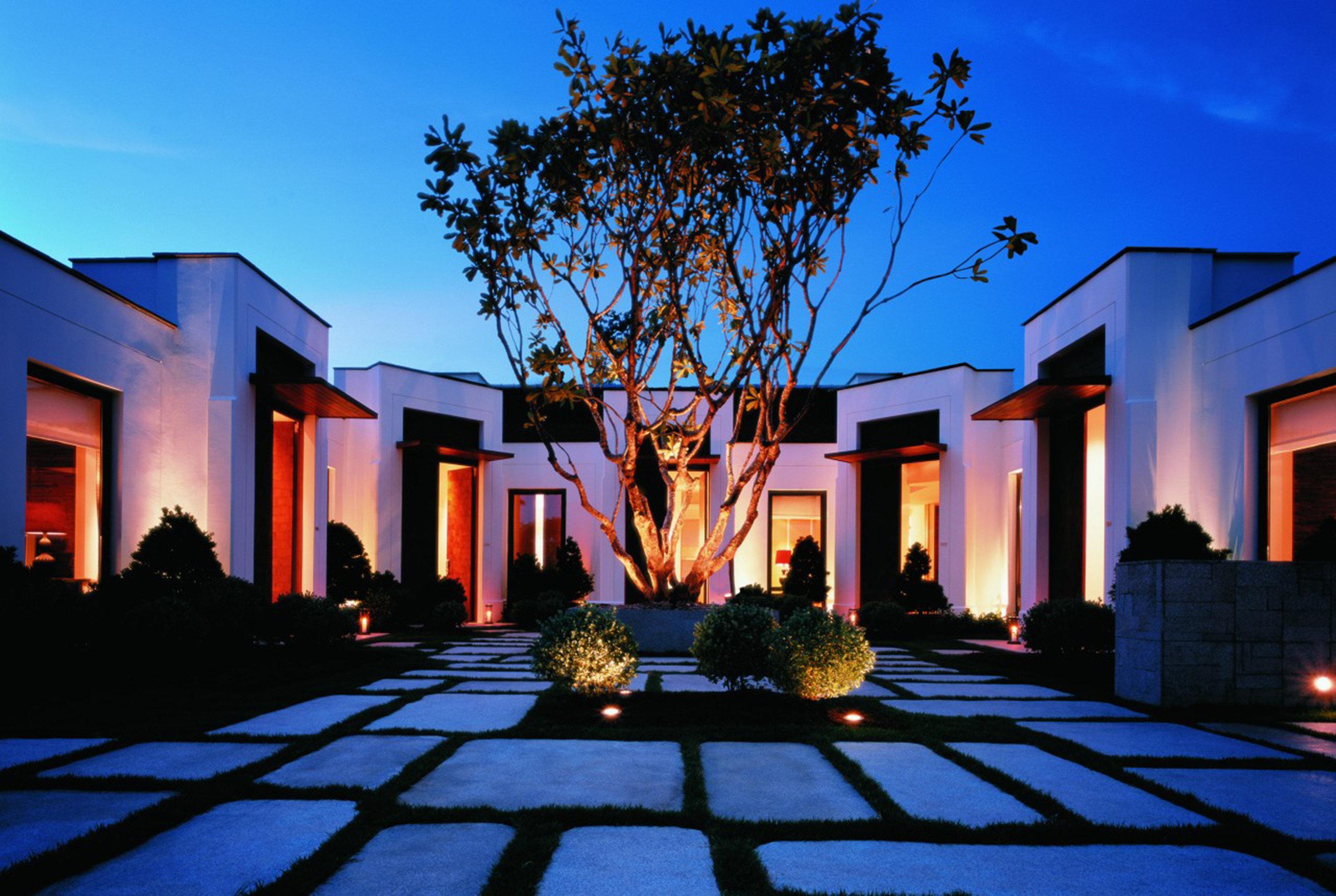 City Courtyard sky building house home Resort landscape lighting lighting evening mansion hacienda Villa