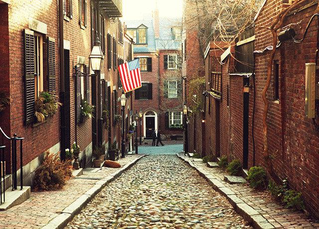 building ground way alley road sidewalk street Town neighbourhood lane City brick scene infrastructure autumn track Courtyard stone