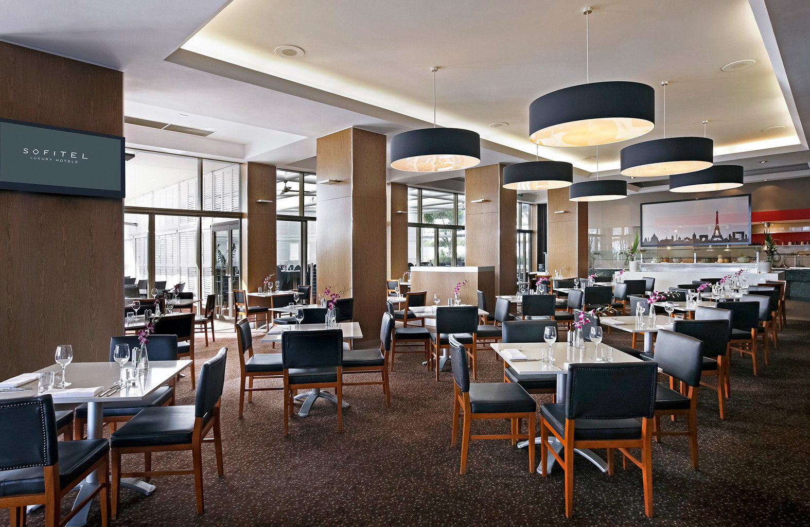 City Dining Drink Eat chair restaurant function hall cafeteria conference hall convention center dining table