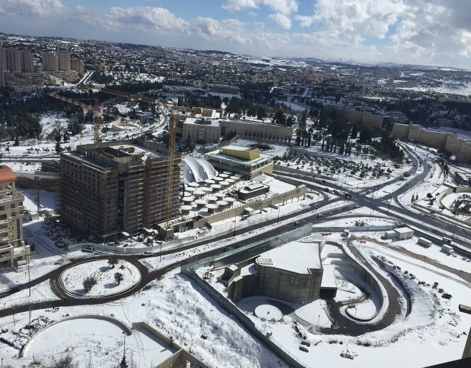 snow sky aerial photography structure City bird's eye view sport venue residential area Downtown cityscape stadium arena