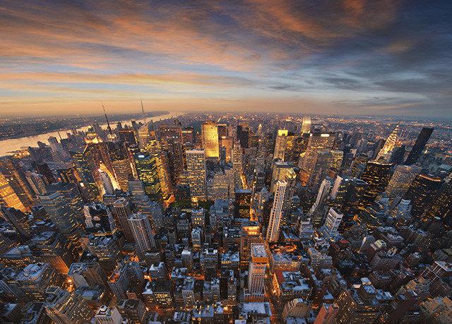 sky metropolitan area metropolis cityscape City skyscraper skyline horizon aerial photography night evening atmosphere of earth Downtown dusk panorama