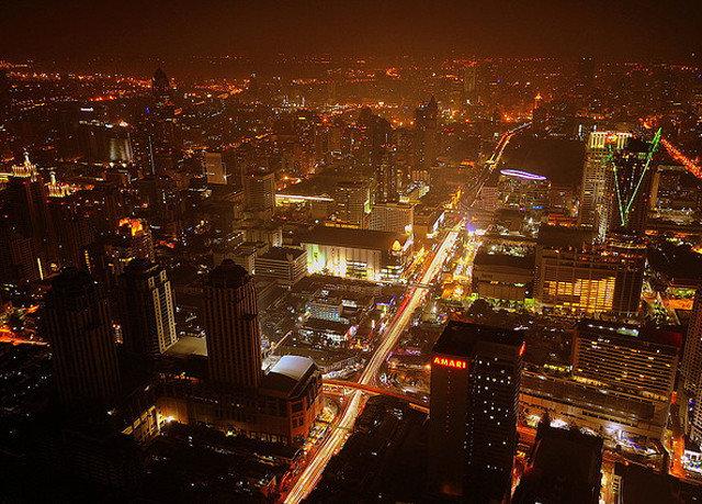 metropolitan area metropolis night cityscape City skyline skyscraper evening Downtown dusk aerial photography