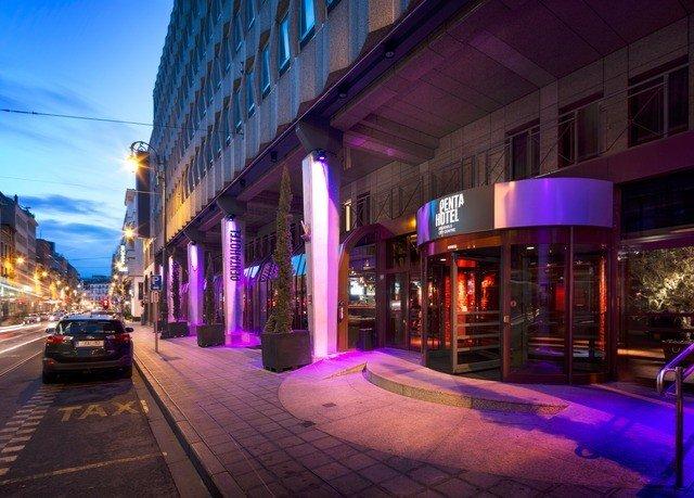 building street night City way evening lighting Downtown metropolis cityscape purple road