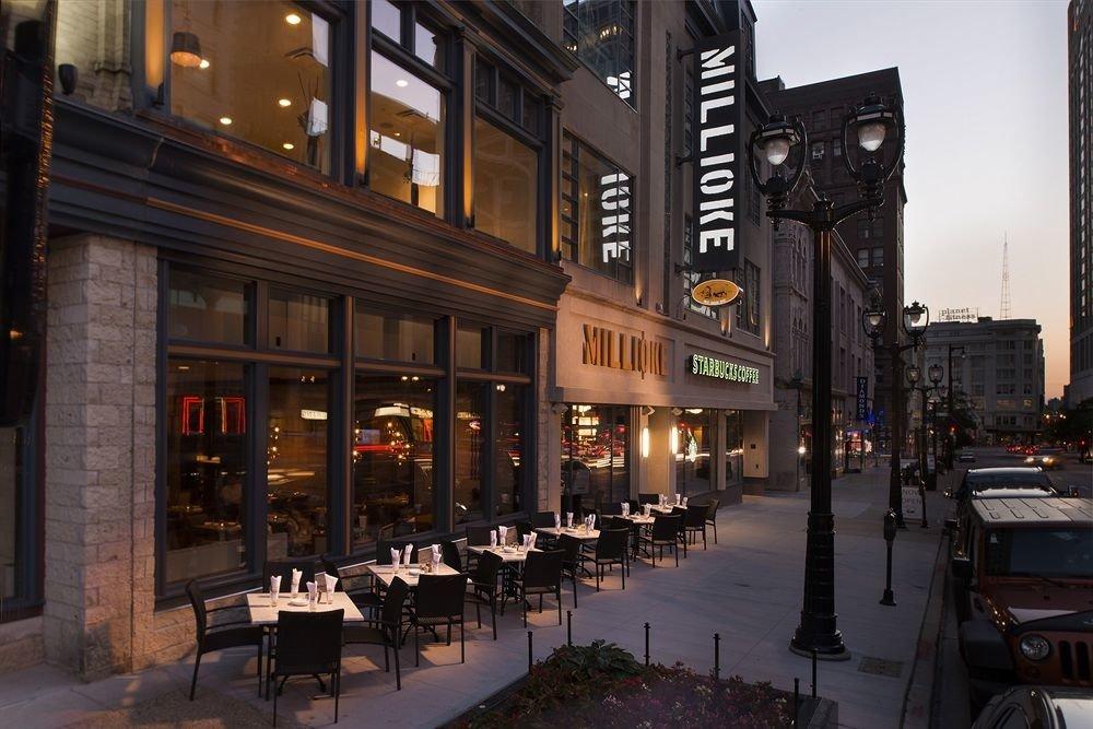 building street road City night metropolis Downtown evening lighting restaurant