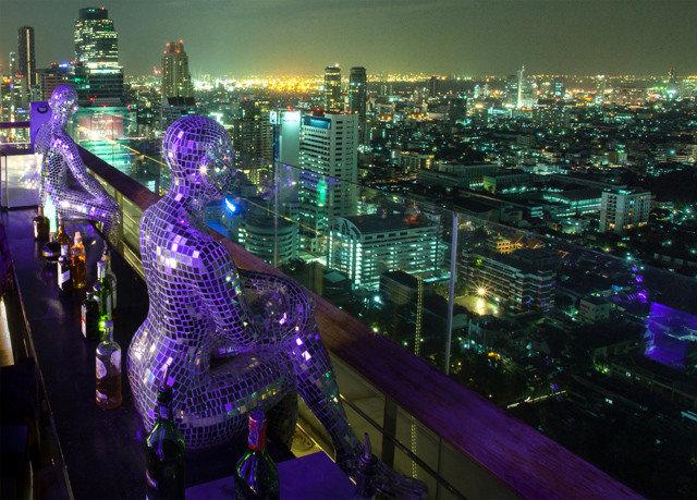 metropolitan area metropolis night skyscraper City cityscape purple skyline Downtown evening colorful