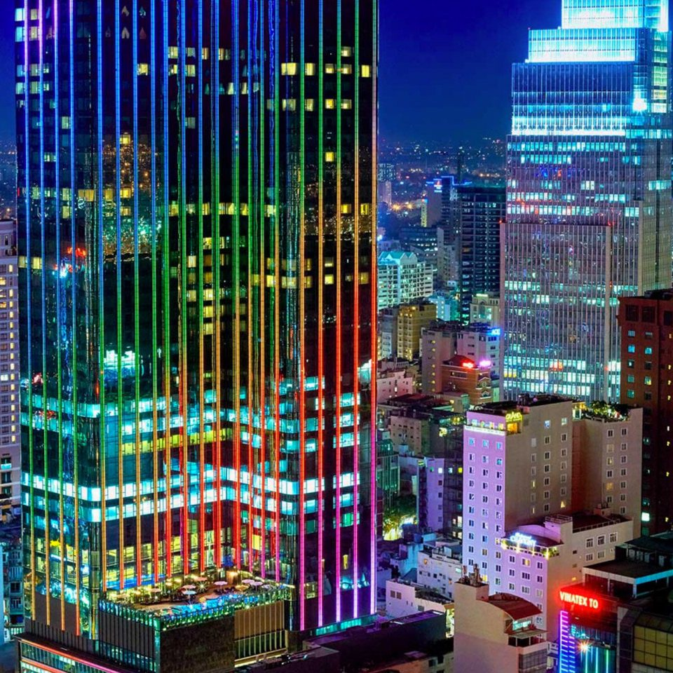 metropolitan area metropolis skyscraper skyline City cityscape night landmark Downtown tower block neighbourhood colorful
