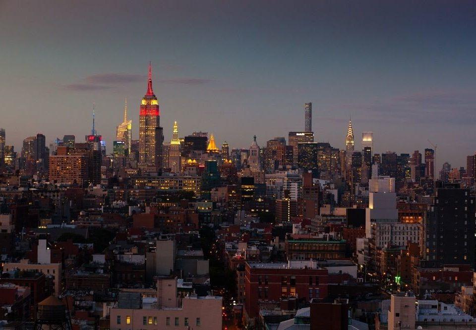 sky metropolitan area skyline metropolis City cityscape skyscraper horizon night Downtown evening dusk panorama distance crowd