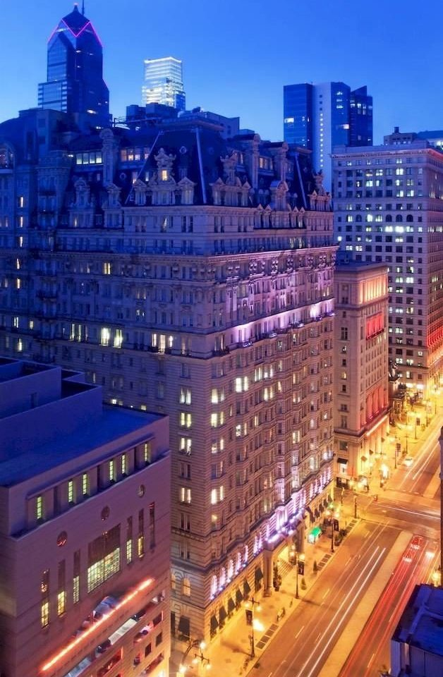 City Elegant Exterior metropolitan area metropolis cityscape skyscraper skyline landmark night Downtown plaza evening dusk tower block