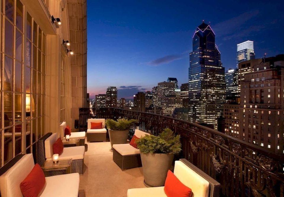 City Elegant Rooftop evening Downtown metropolis plaza cityscape