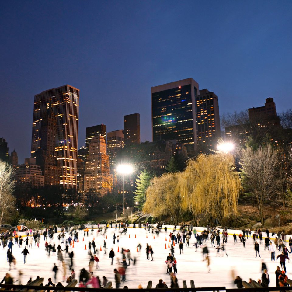 City Entertainment Outdoor Activities Outdoors Scenic views sky tree building skyline crowd rink metropolis night cityscape evening Downtown dusk