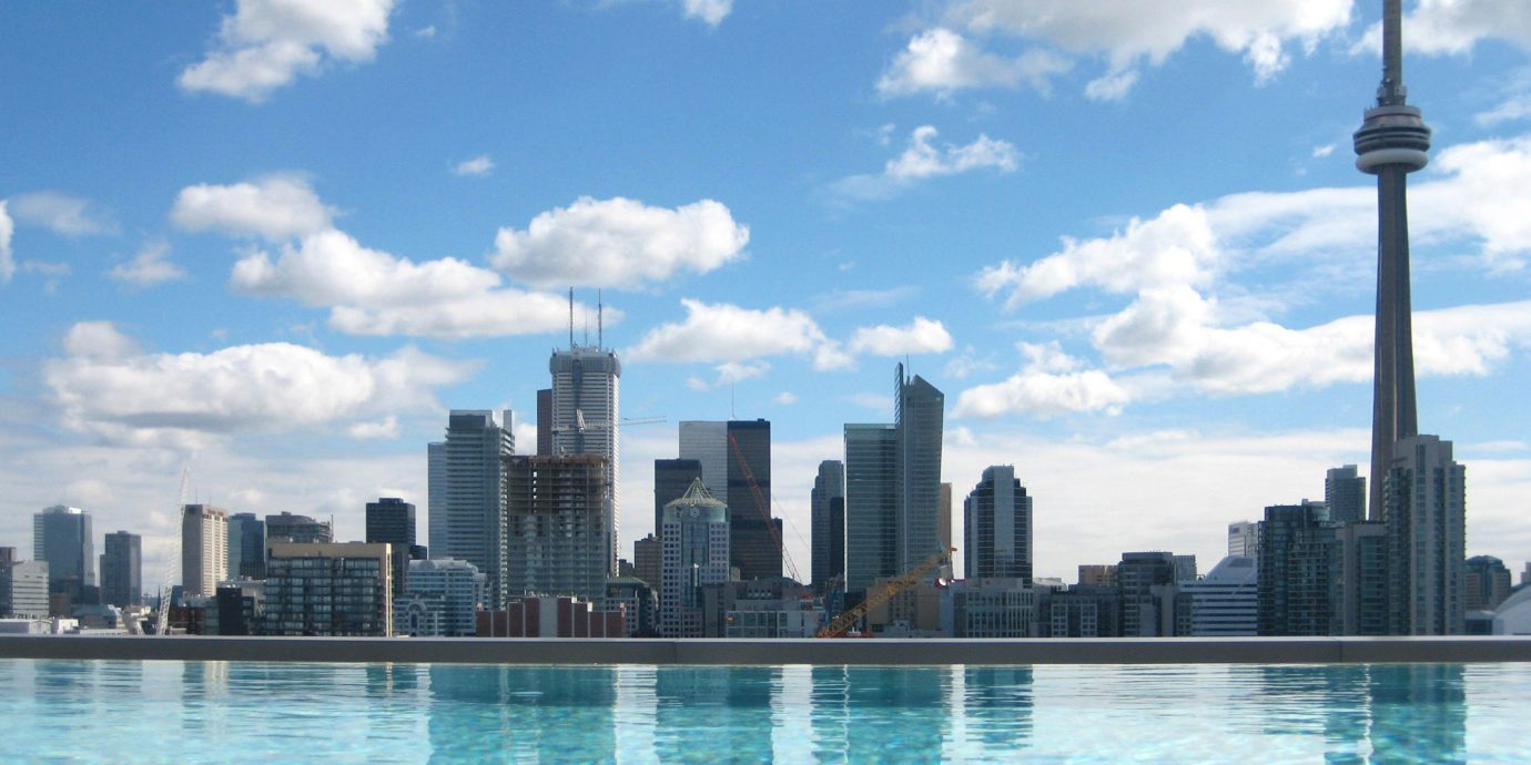 City Hip Modern Pool Scenic views water sky skyline skyscraper horizon landmark cityscape Lake Downtown metropolis Harbor swimming day Island