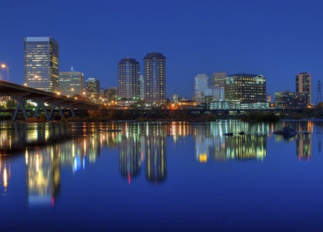water skyline River City scene horizon cityscape dusk skyscraper evening Downtown Harbor metropolitan area panorama metropolis distance