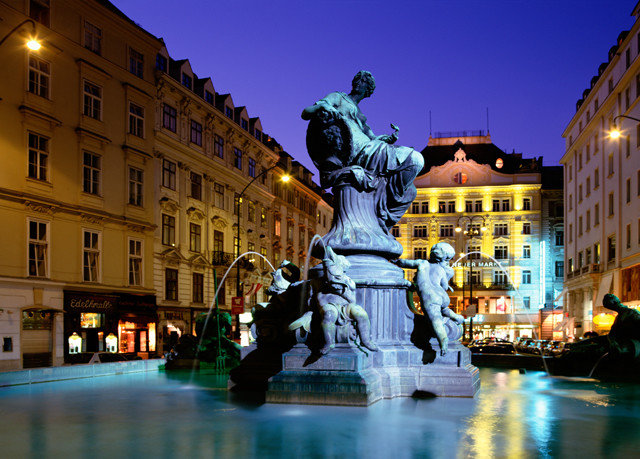 night landmark City Town fountain plaza evening town square cityscape water feature street Downtown lighting ancient rome travel
