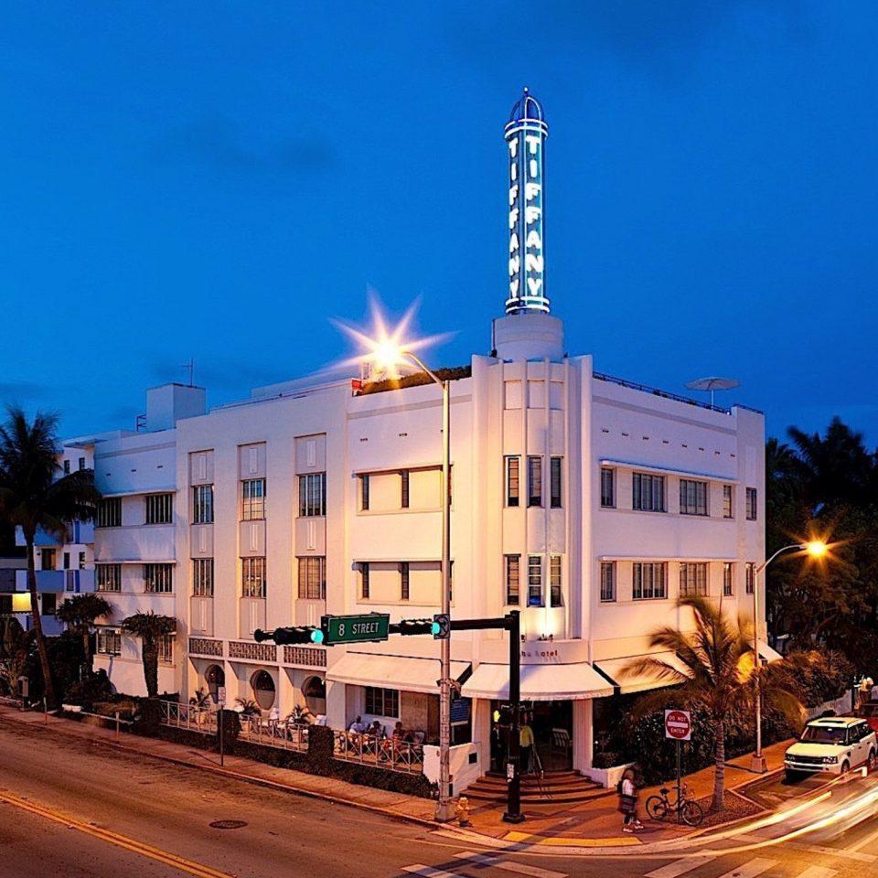 sky landmark Town night plaza City street cityscape Downtown metropolis evening town square shopping mall road