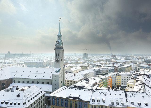 sky snow City weather Winter cityscape skyline skyscraper Downtown tower block tower panorama