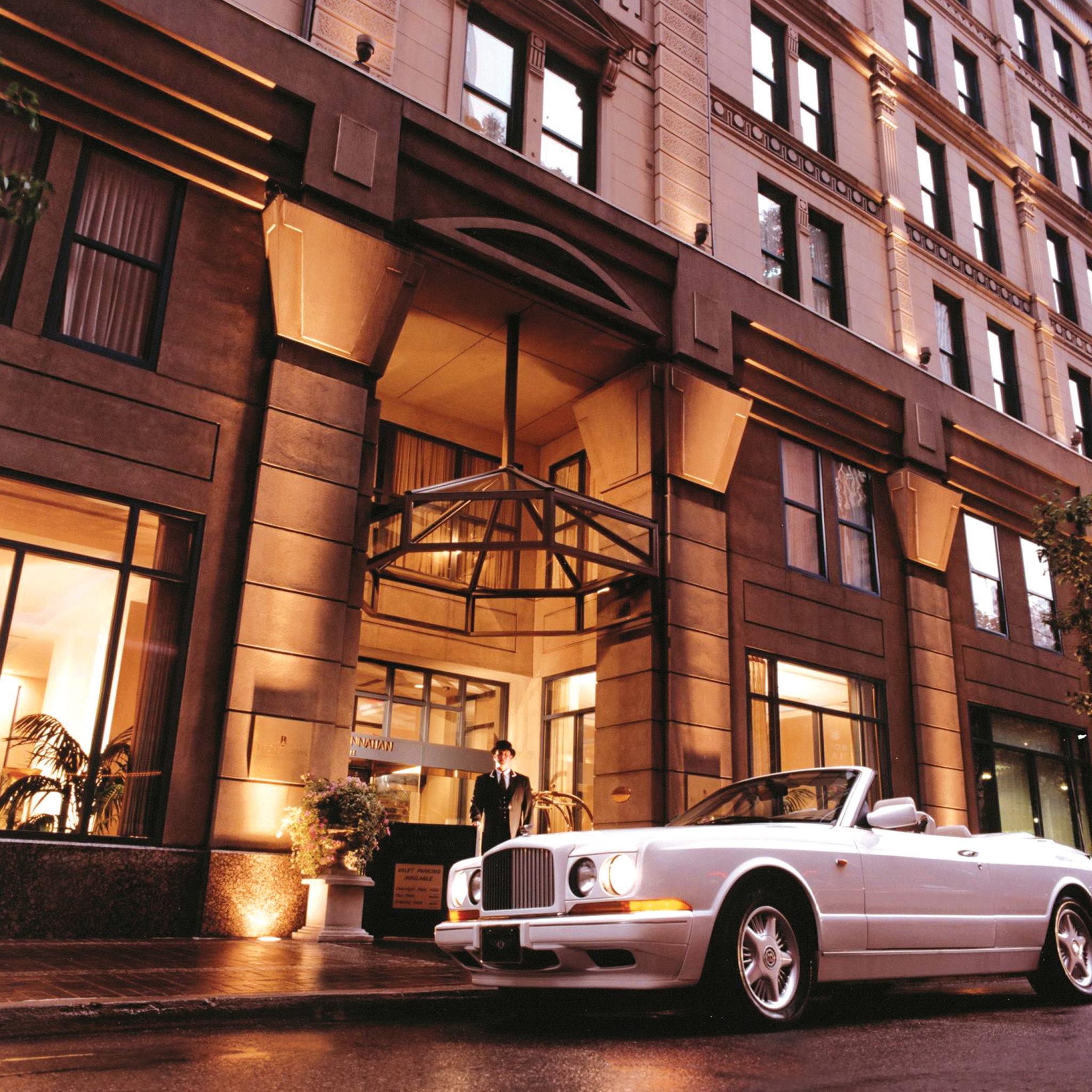 Elegant Exterior Historic Modern building road street car vehicle luxury vehicle City