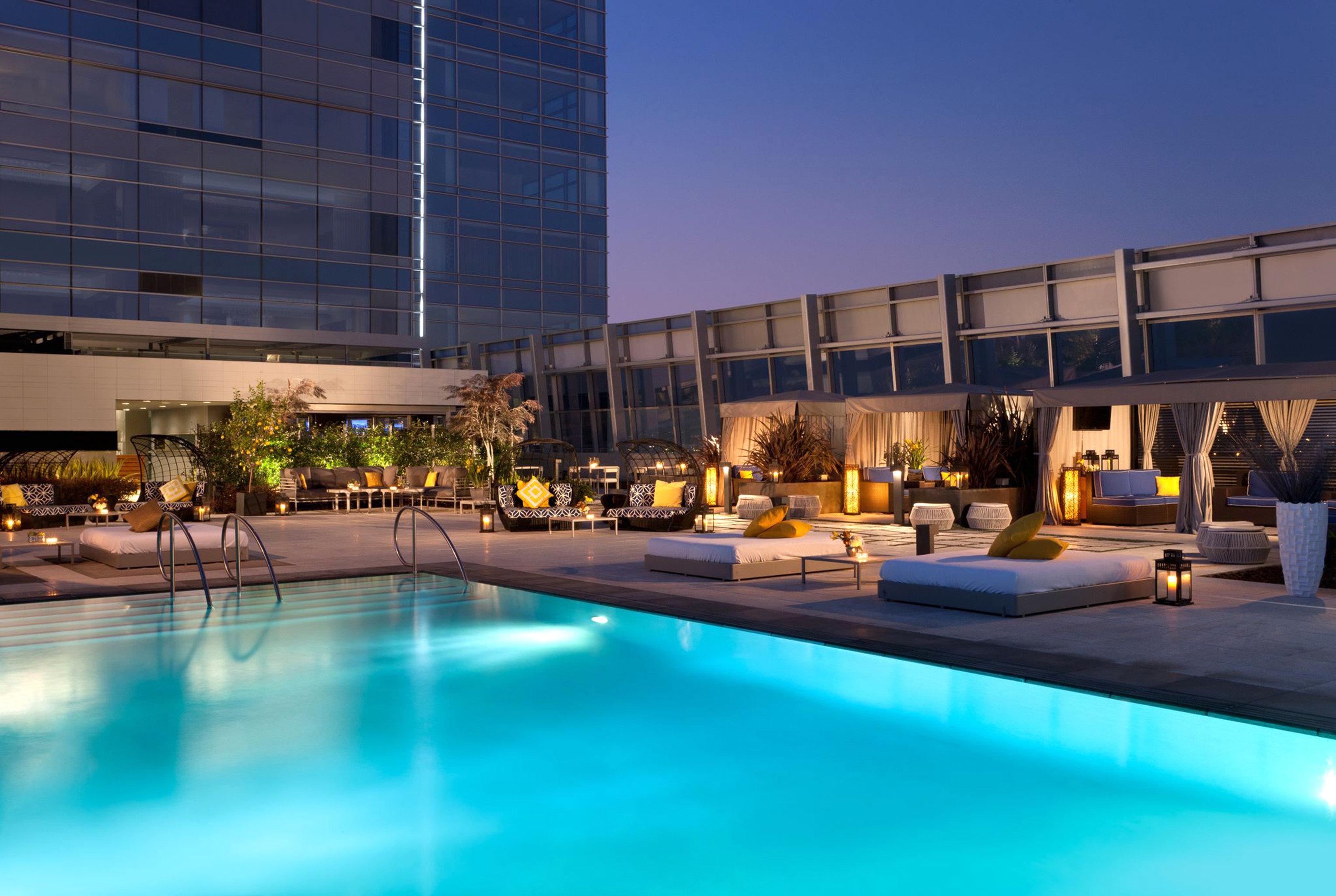 City Elegant Lounge Modern Patio Pool Rooftop sky building swimming pool leisure plaza Resort leisure centre reflecting pool condominium convention center headquarters blue