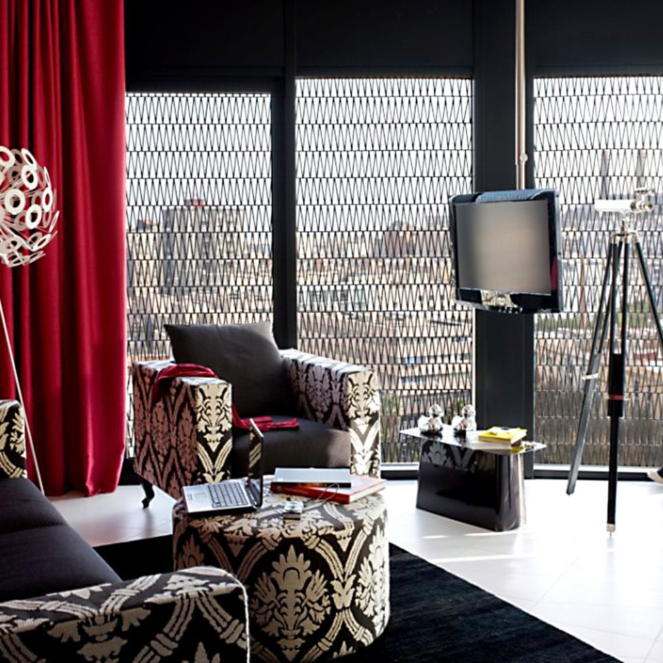 City Hip Lounge Modern Scenic views curtain red stage living room
