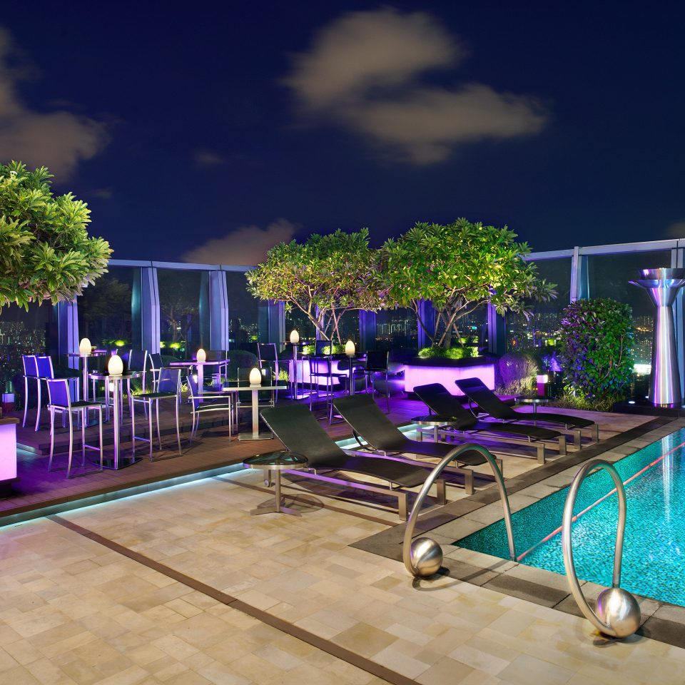 City Hip Pool Rooftop swimming pool building home lighting Resort backyard mansion condominium
