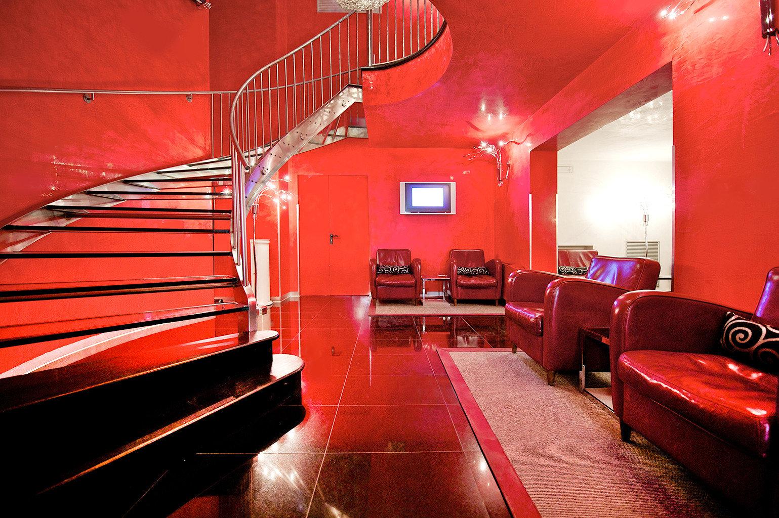 City Lobby Modern color red restaurant