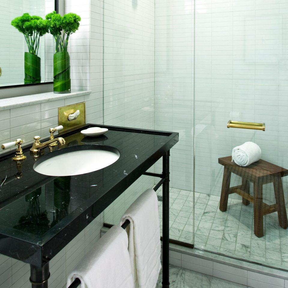 City Modern bathroom sink counter plumbing fixture countertop tile flooring home toilet bidet