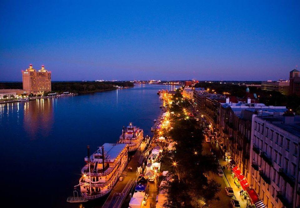 sky water City River night cityscape landmark evening dusk horizon skyline panorama traveling distance