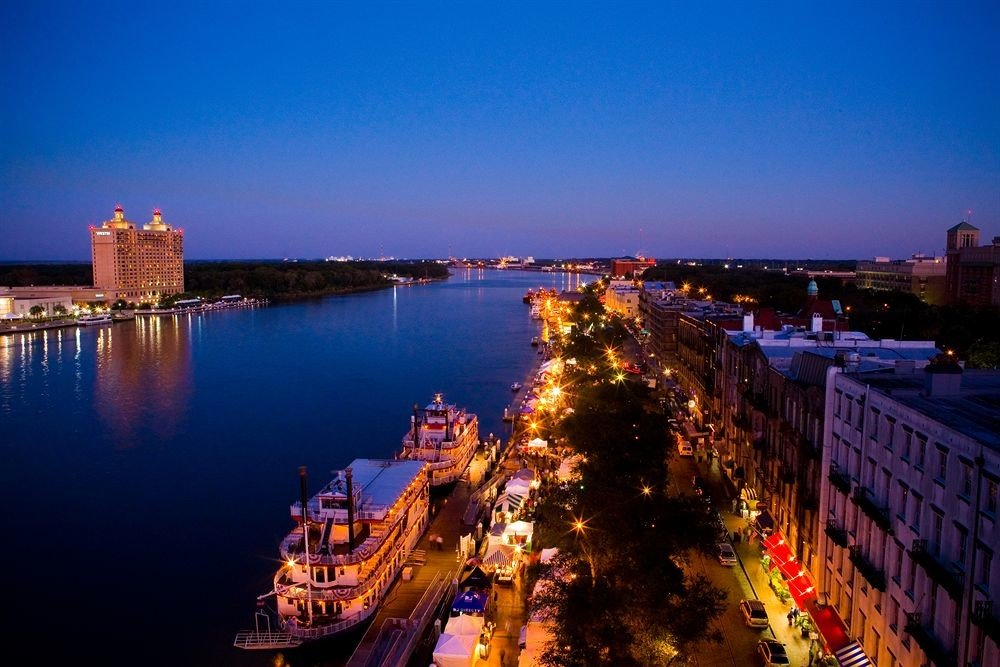 sky water City River night cityscape landmark evening dusk horizon skyline panorama traveling distance