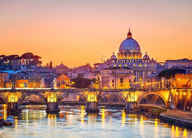 sky yellow water landmark City cityscape night evening River dusk Sunset bridge place of worship palace travel orange colorful