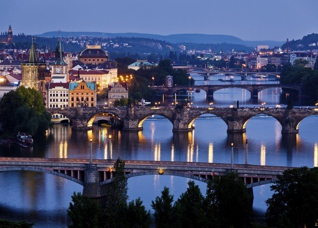 sky water bridge River building landmark cityscape City Town night evening dusk skyline traveling