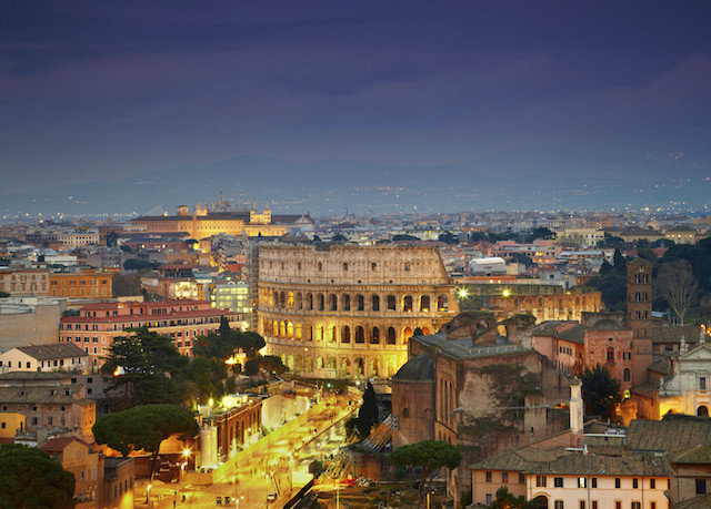 building cityscape Town landmark City night evening dusk ancient history ancient rome panorama
