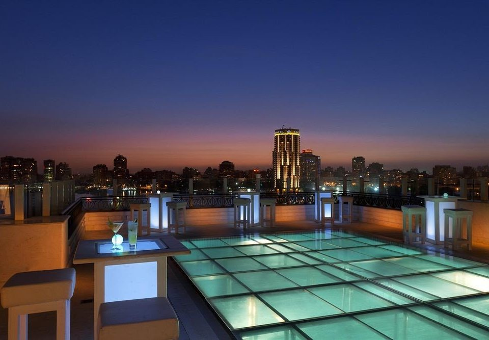 night skyline evening cityscape dusk plaza convention center