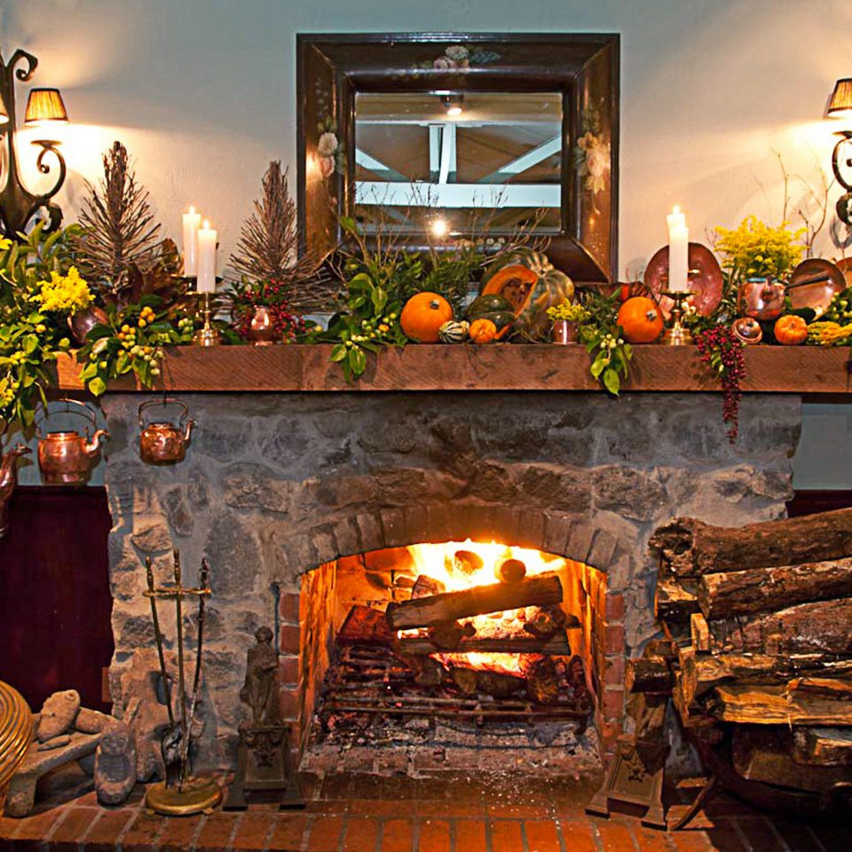 Classic Country Fireplace Inn fire hearth home living room cottage stone