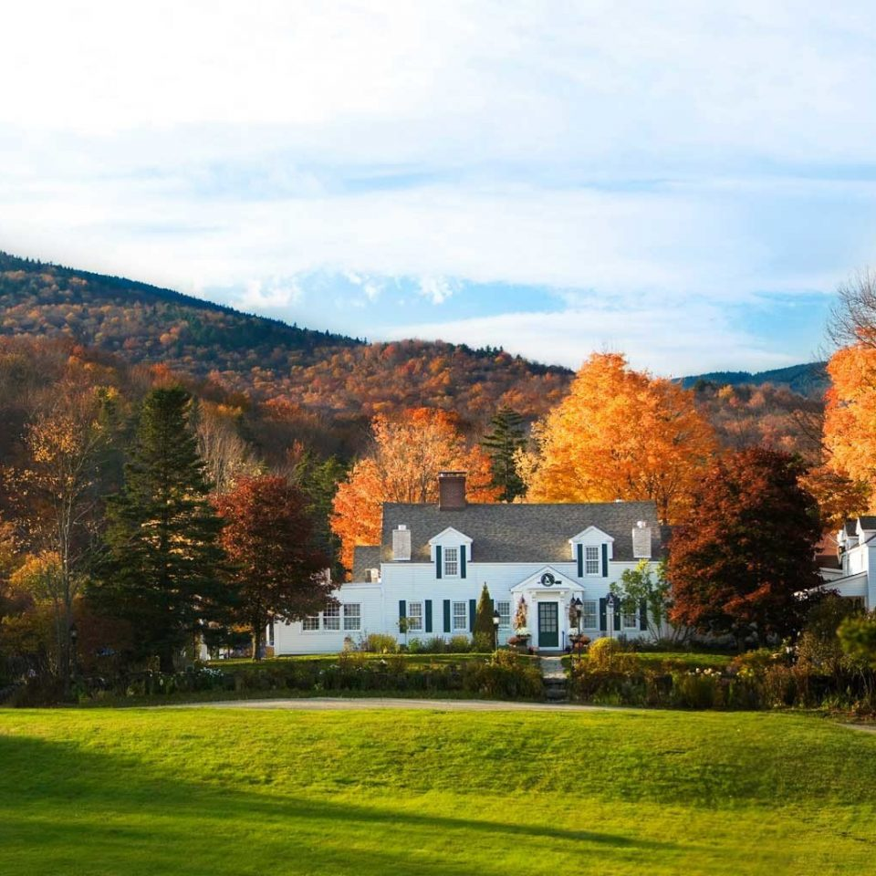 Classic Country Inn Nature Outdoors tree grass sky house field mountain green season autumn hill rural area landscape background meadow grassy lawn lush plant hillside