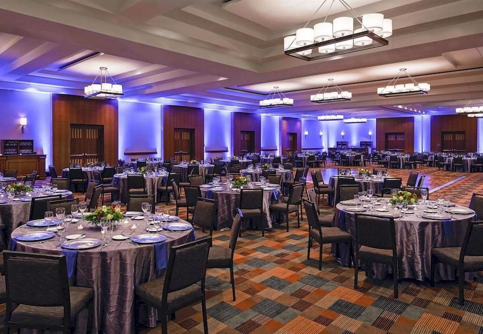 Classic Dining function hall banquet convention center ballroom restaurant wedding reception conference hall purple