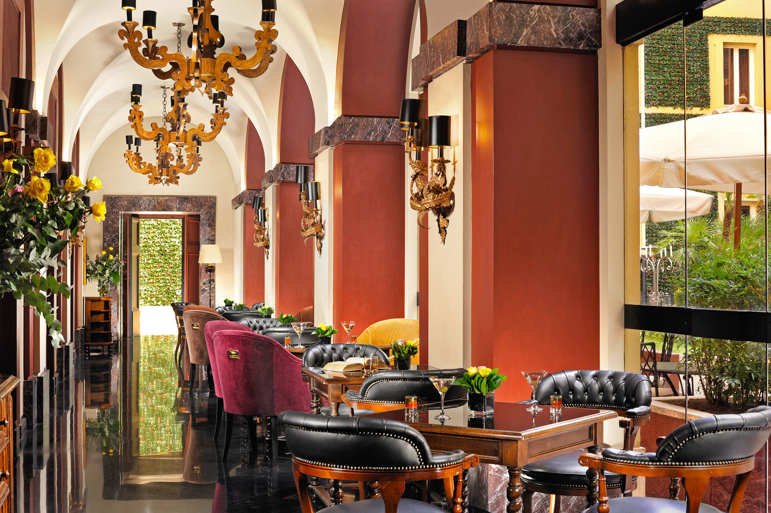 Classic Dining restaurant home Resort hacienda Lobby cluttered dining table